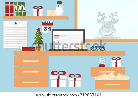christmas background - santa claus workstation flat design - stock vector