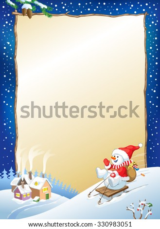 Christmas background - Santa snowman with gifts on sled. New year design. - stock vector