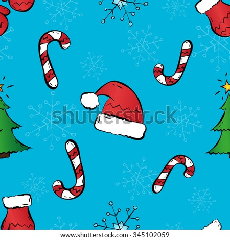Christmas background. Seamless pattern. Hand-drawn style. Vector. - stock vector