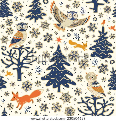 Christmas background. Seamless pattern with owls, fox, squirrel, birds, Xmas tree and snowflakes. Vector forest illustration. - stock vector