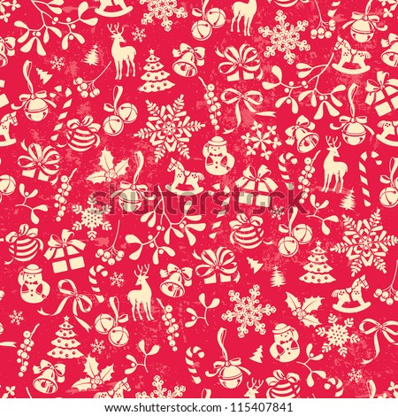 Christmas background, seamless tiling, great choice for wrapping paper pattern - stock vector