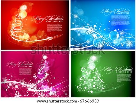 Christmas background set for poster design, vector illustration - stock vector