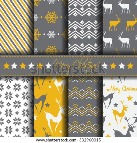 Christmas background Set of seamless patterns - stock vector