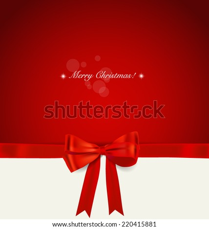 Christmas background. Shiny ribbon on red background. Vector illustration. - stock vector