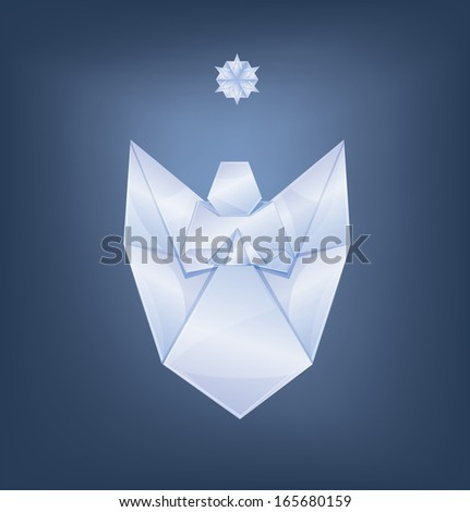 Christmas background singing angel with first star. origami stylized - stock vector