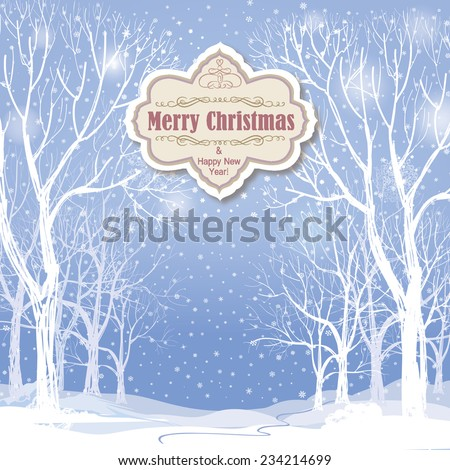 Christmas background. Snow winter landscape.  Retro Merry Christmas greeting card. - stock vector