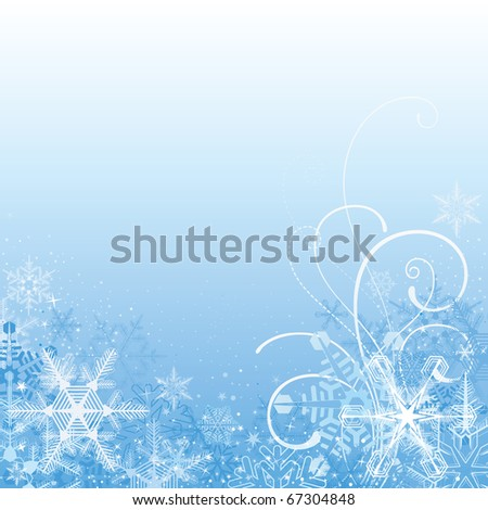 christmas background,snowflake design with scrolls - stock vector