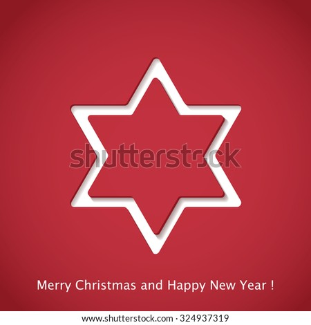 Christmas background star cutted from paper on red background. Vector illustration. Greeting card with Christmas star - stock vector