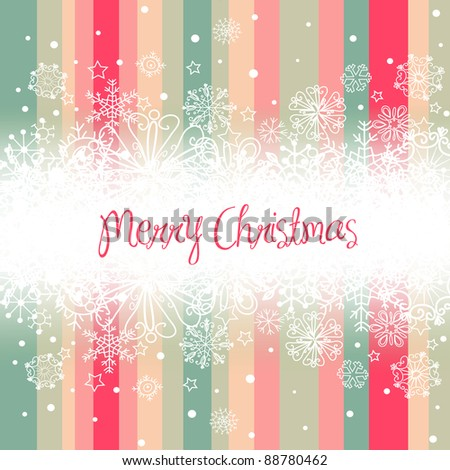 Christmas background, stripes and snowflakes - stock vector