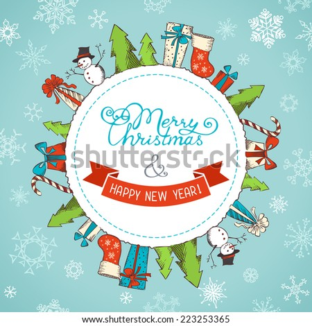 Christmas background. Various Christmas objects on the Earth. There is place for your text in the center.  - stock vector