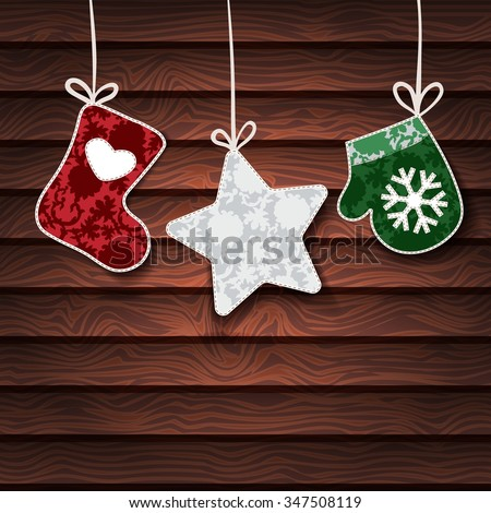 Christmas background. Vector background with Christmas toys.