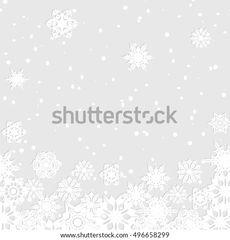 Christmas background.White snowflakes on gray background.Background for New Year's greetings.Winter abstraction