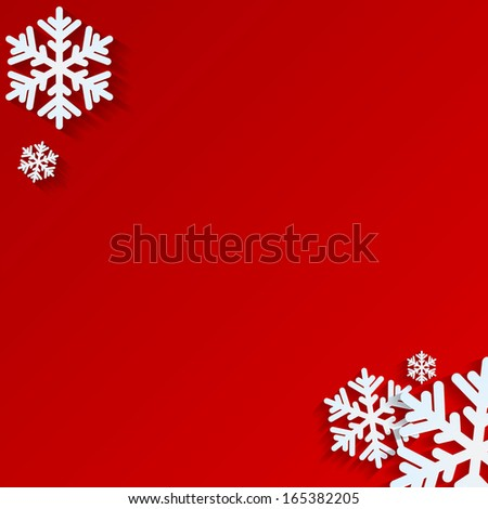 Christmas background.White snowflakes on red background.backgrou nd for New Year's greetings.winter abstraction.vector  - stock vector