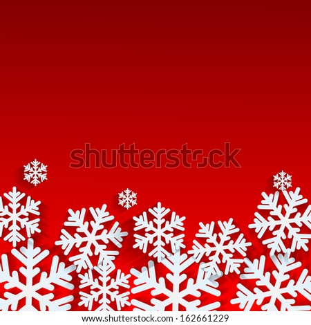 Christmas background.White snowflakes on red background.background for New Year's greetings.winter abstraction.vector - stock vector