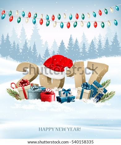 Christmas background with a 2017 and a gift boxes. Vector.