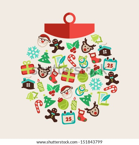 Christmas background with a Christmas ball - stock vector