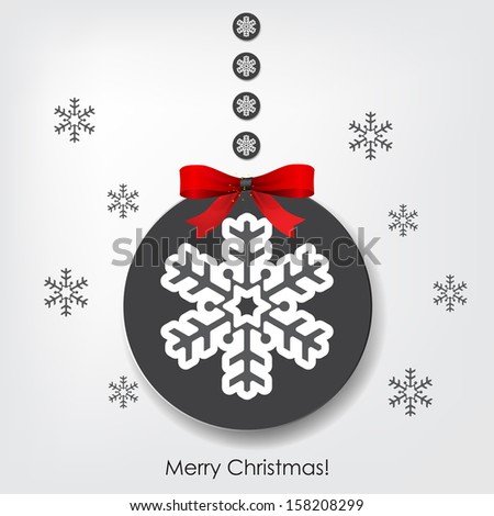 "Christmas background with a Christmas ball and ribbon, and the text ""Merry Christmas!"" (EPS10 Vector)"