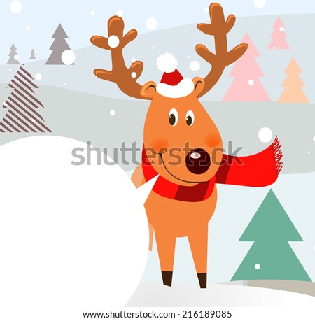 christmas background with a deer - stock vector