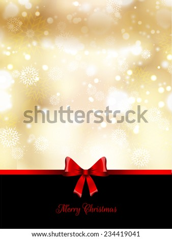 Christmas background with a glossy red ribbon
