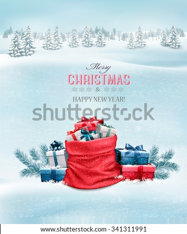 Christmas background with a winter landscape and a sack full of presents. Vector. - stock vector