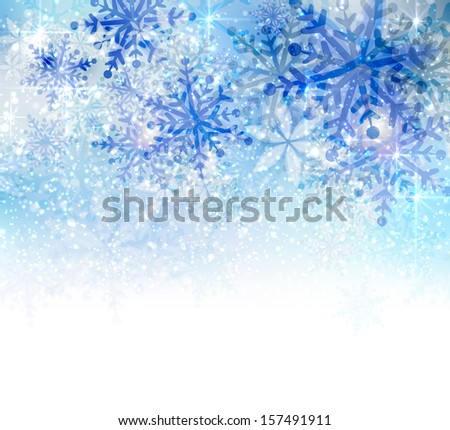 Christmas background with abstract blue snowflakes  - stock vector