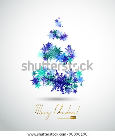 Christmas  background with abstract fir tree and  winter snowflakes - stock vector