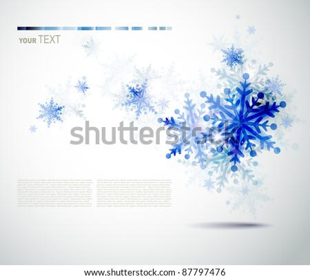 Christmas  background with abstract winter  blue snowflakes - stock vector