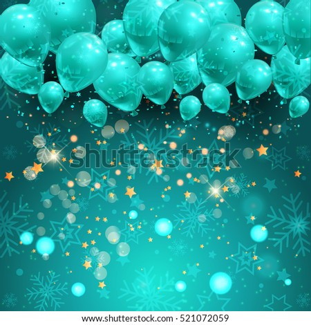 Christmas background with balloons and stars