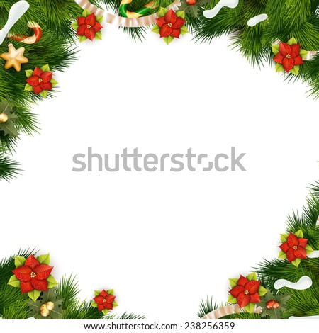 Christmas background with balls and decorations isolated on white. EPS 10 vector file included - stock vector