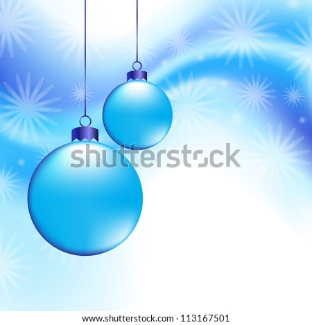 Christmas background with balls and snowflakes - stock vector