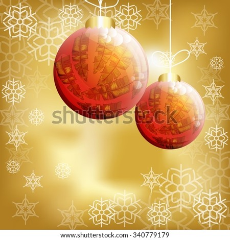 Christmas background with balls and snowflakes. Vector background. - stock vector