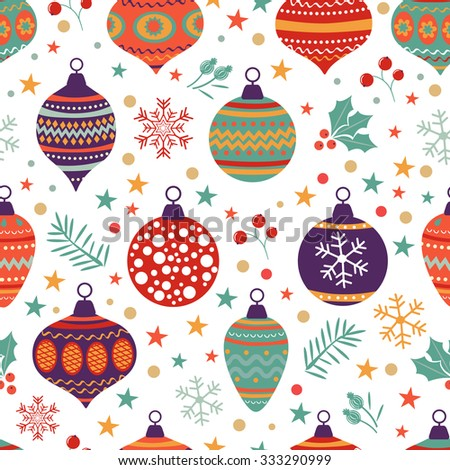 Christmas background with balls bells flowers. Vector illustration