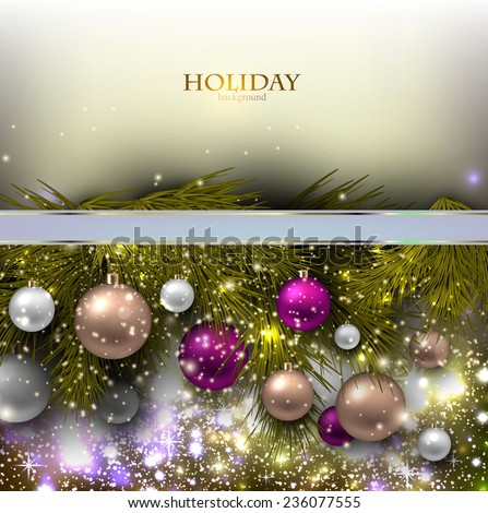Christmas background with balls. Colorful Xmas baubles. Vector - stock vector