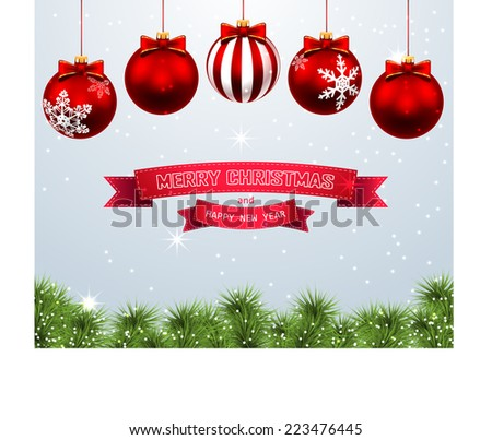 Christmas background with balls. Illustration. Vector. - stock vector
