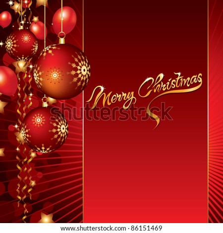 christmas background with baubles and balloons
