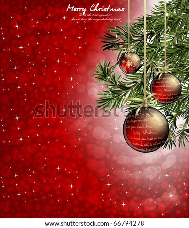 Christmas background baubles christmas tree christmas background with baubles and christmas tree voltagebd Choice Image