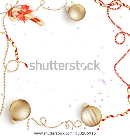 Christmas background with baubles and christmas tree. EPS 10 vector file included - stock vector