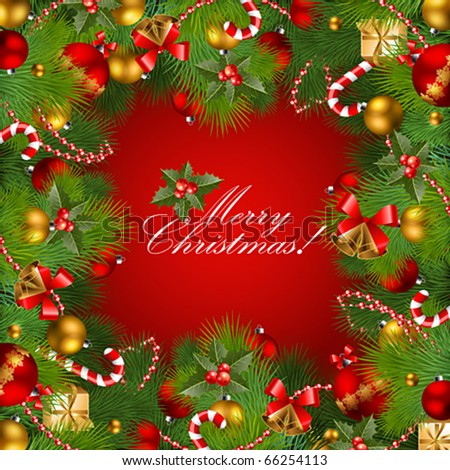 christmas background with baubles and christmas tree. Vector frame with green fir - stock vector