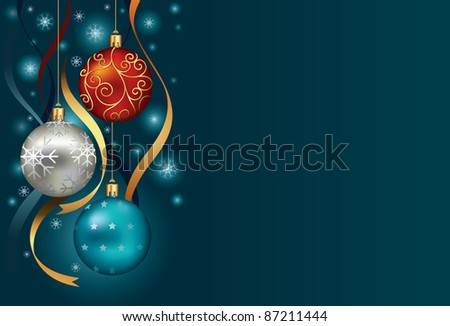 Christmas background with baubles and ribbon in snow - stock vector