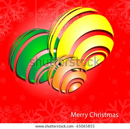 christmas background with baubles, And snowflakes - stock vector