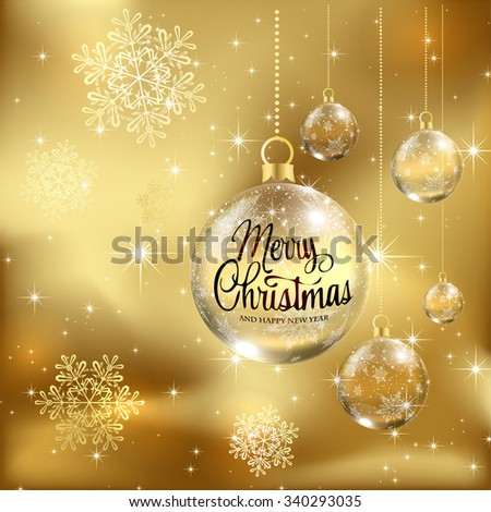 Christmas background with baubles, illustration. / Christmas greeting card with Christmas balls /  Origami Christmas greeting card / Christmas Card or Cover Template Design with Merry Christmas Text - stock vector