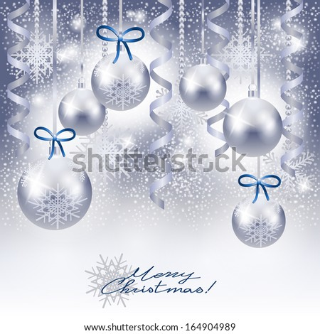 Christmas background with baubles in silver, vector