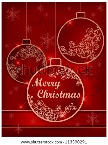 Christmas background with baubles & text, vector illustration in red color - stock vector