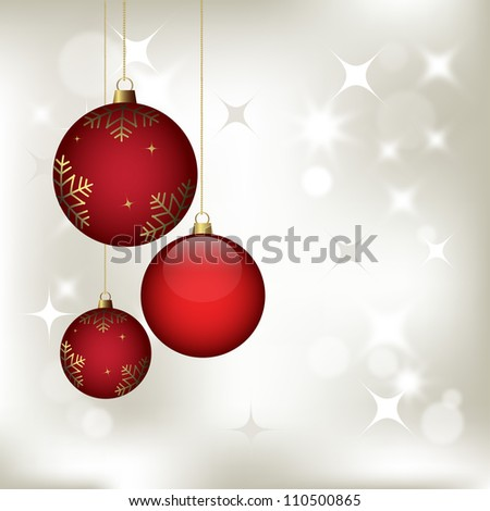 christmas background with baubles, vector for design - stock vector