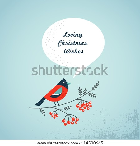 Christmas background with bird, ashberry and speech bubbles - stock vector