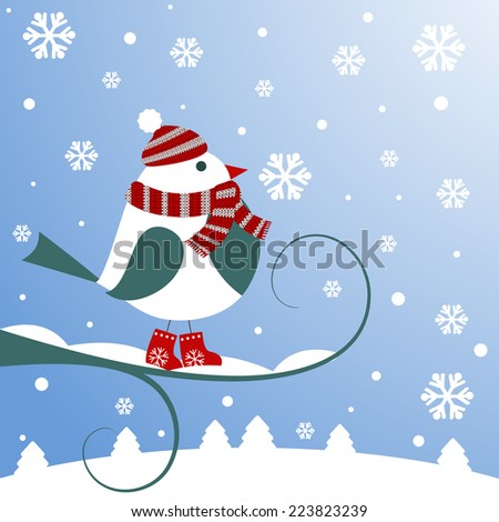Christmas background with bird. Vector illustration. Eps10 - stock vector
