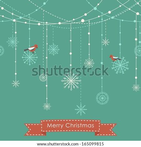 Christmas background with birds, garlands and snowflakes - stock vector