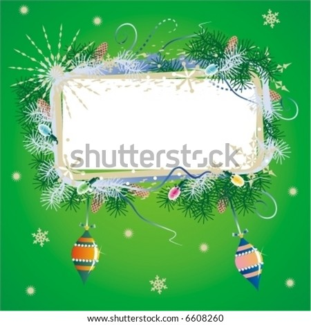 Christmas background with blank framed banner, pine tree branches, ornaments and lights ( for high res JPEG or TIFF see image 6607753 )