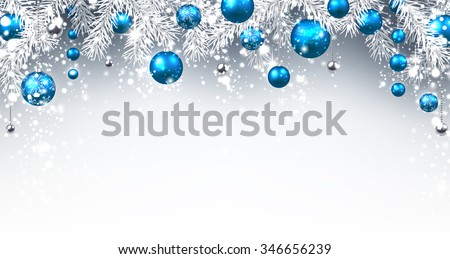 Christmas background with blue balls. Vector paper illustration. - stock vector