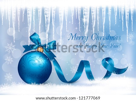 Christmas background with blue gift ball and icicles. Vector illustration. - stock vector